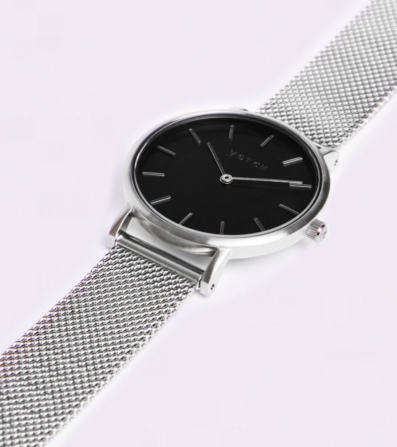 Mesh Petite Silver & Black Stainless Steel Watch-Watch-Votch-MAMOQ