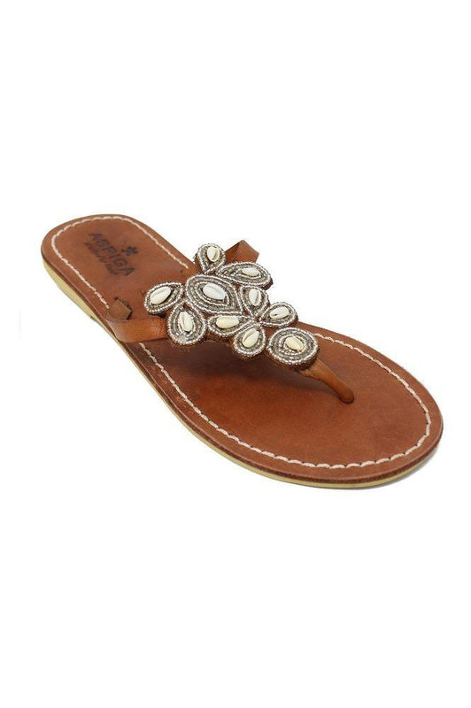Mia Silver Shell Leather Thong Sandals-Aspiga-MAMOQ