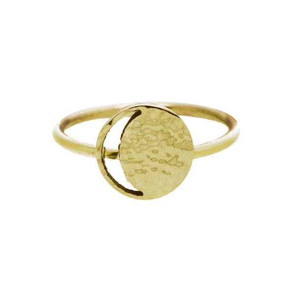 Mini Crescent Lune Yellow Gold Signet Ring-KIND Jewellery-MAMOQ