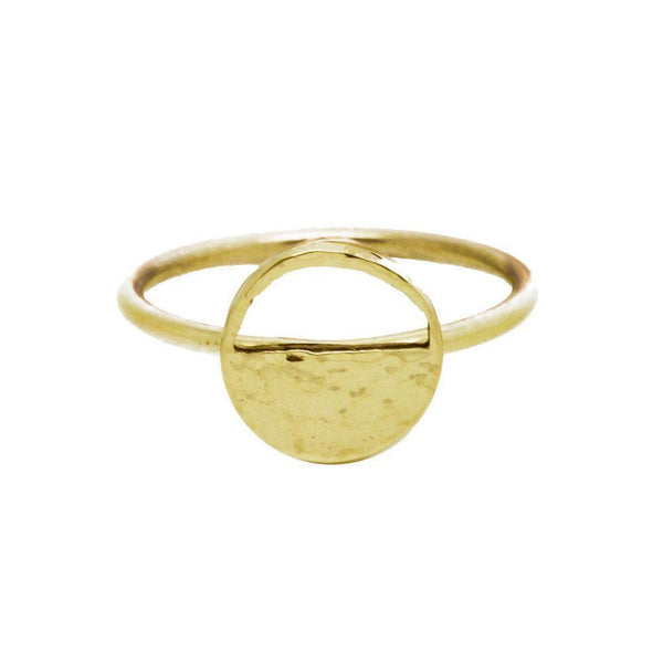Mini Demi Lune Yellow Gold Signet Ring-KIND Jewellery-MAMOQ
