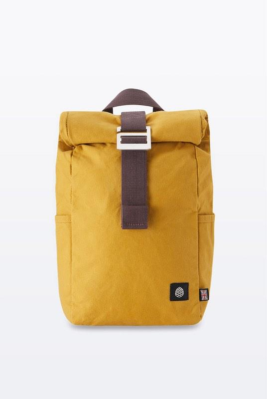 Mini Mustard Waxed Organic Cotton Roll Top Backpack-The Level Collective-MAMOQ