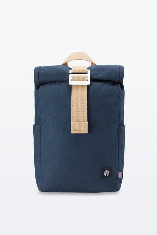 Mini Navy Waxed Organic Cotton Roll Top Backpack-The Level Collective-MAMOQ
