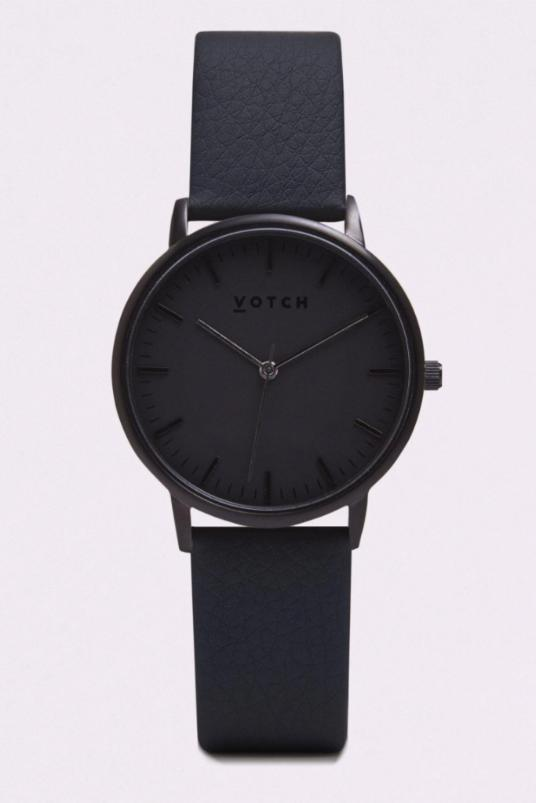 Moment Black Vegan Leather Watch-Watch-Votch-MAMOQ