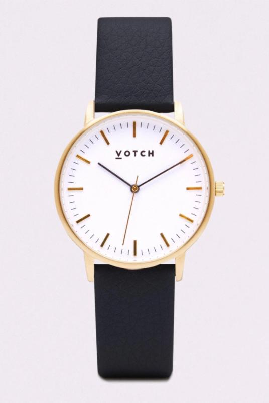 Moment Gold & Black Vegan Leather Watch-Watch-Votch-MAMOQ