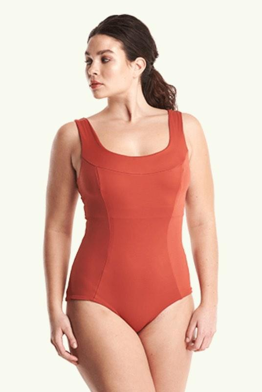 Monroe Moroccan Red Crossback Swimsuit-Deakin and Blue-MAMOQ