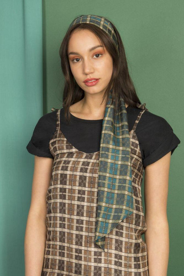 Multiway Silk Scarf Top in Green and Blue Checks-Mayamiko-MAMOQ