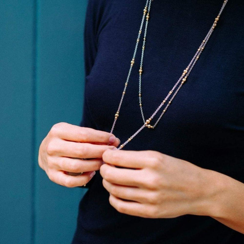 Mustard Long Chain Necklace-Little by Little Jewellery-MAMOQ