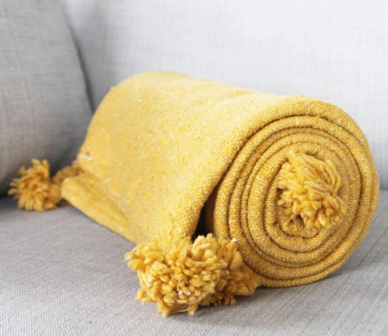 Nahla Mustard Cotton Moroccan Throw-Harfi-MAMOQ