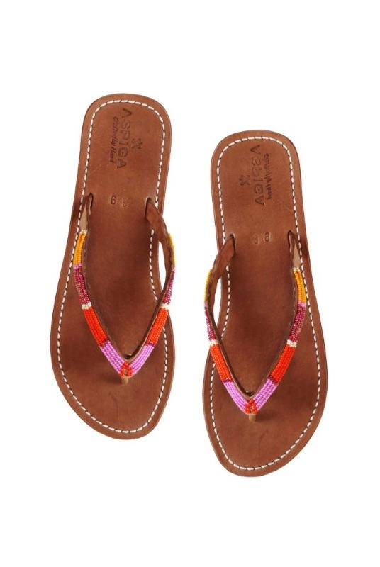 Naisha Orange/Pink Leather Soft Sole Sandals-Aspiga-MAMOQ