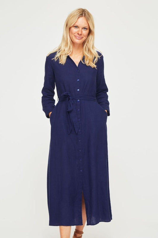 Navy Linen Midi Shirt Dress-Aspiga-MAMOQ