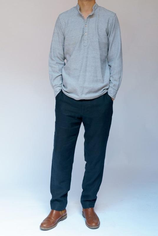 Navy Linen Trousers-Kipper & Chalk-MAMOQ
