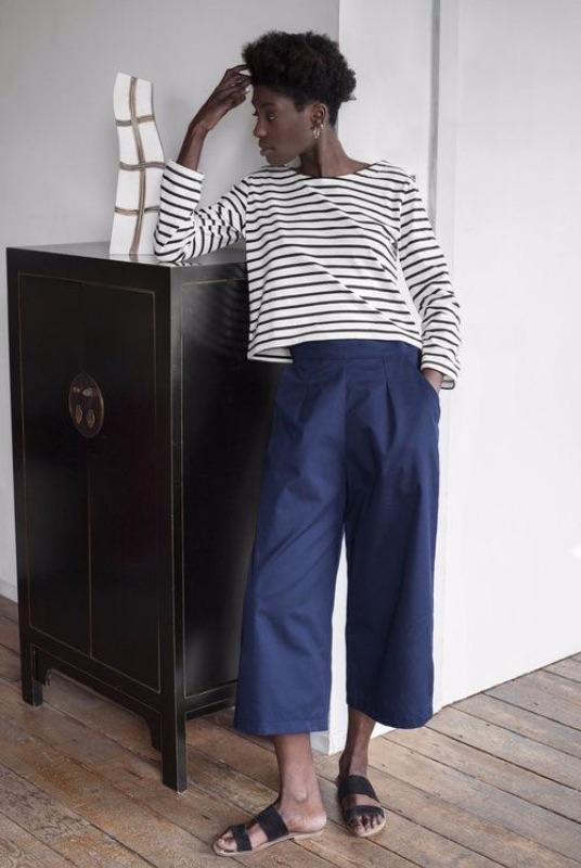 Navy Organic Cotton Wide Leg Trousers-Veryan-MAMOQ