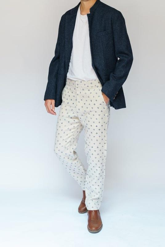 Navy Printed Tan Linen Trousers-Kipper & Chalk-MAMOQ