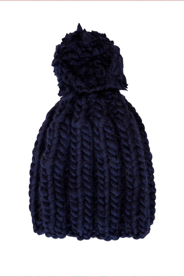 Navy Wool Beanie with Pompom-ACCESSORIES-Birdsong-MAMOQ