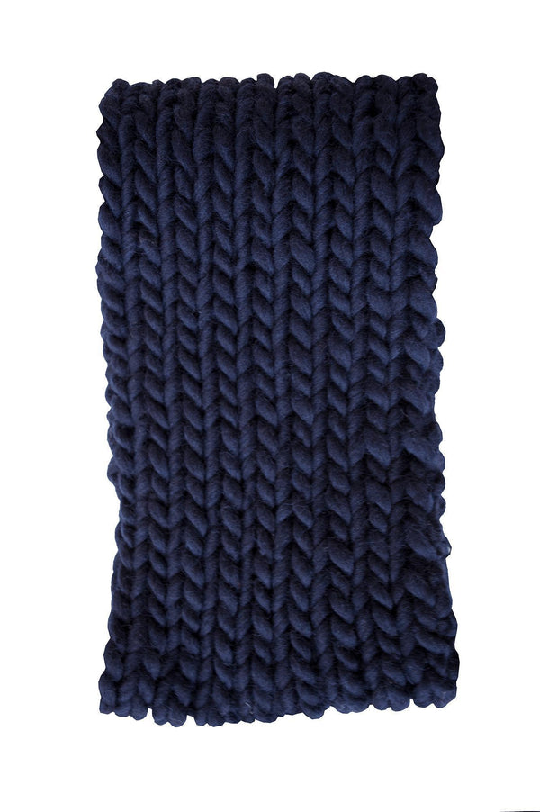 Navy Wool Chunky Scarf-ACCESSORIES-Birdsong-MAMOQ
