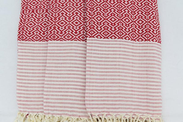 Nisa Hammam Red Organic Cotton Towel-Towels-Harfi-MAMOQ