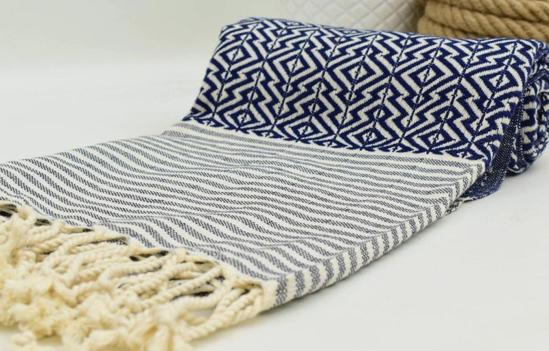 Nisa Navy Blue And White Hammam Towel-Towels-Harfi-MAMOQ