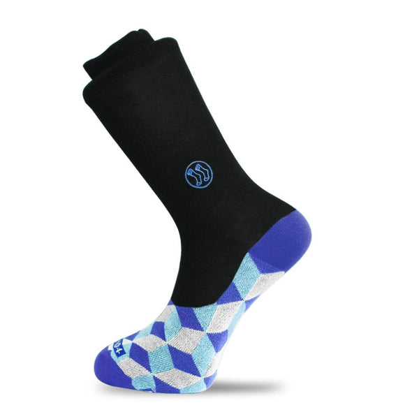 No Shock Black Optical Blue Office Socks-Stand4 Socks-MAMOQ