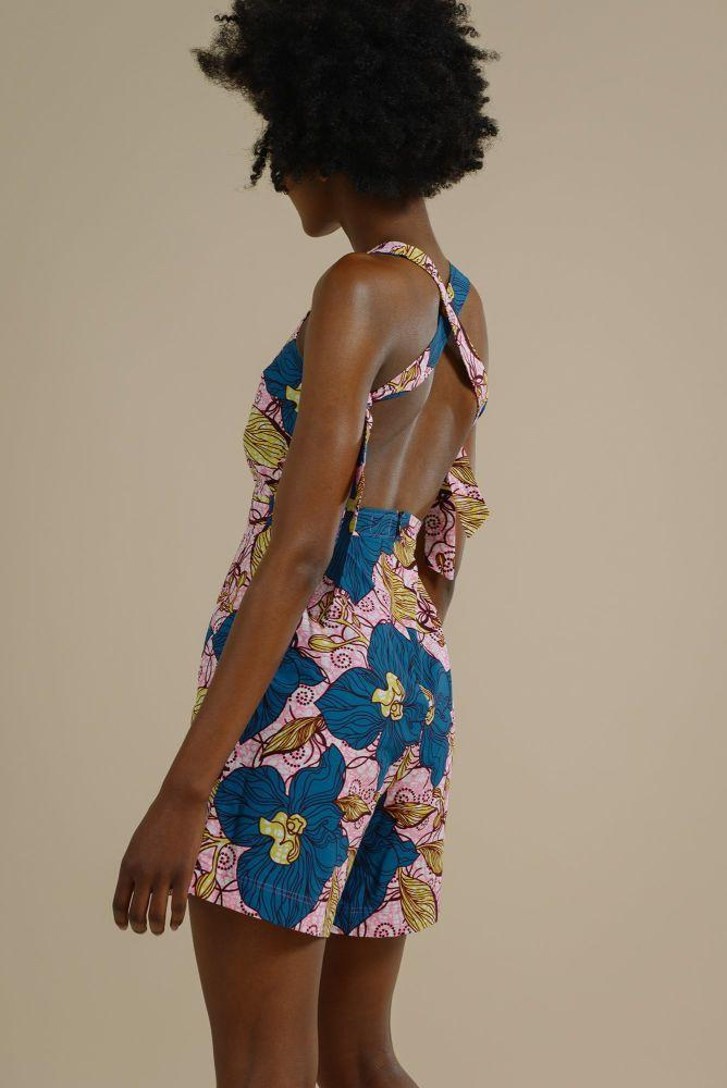 Nthanda cross back ties playsuit in Enchanted Garden-Mayamiko-MAMOQ