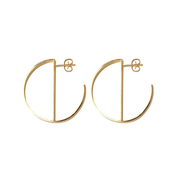 O Hoops Gold Plated Silver Earrings-Earrings-laoehlé-MAMOQ