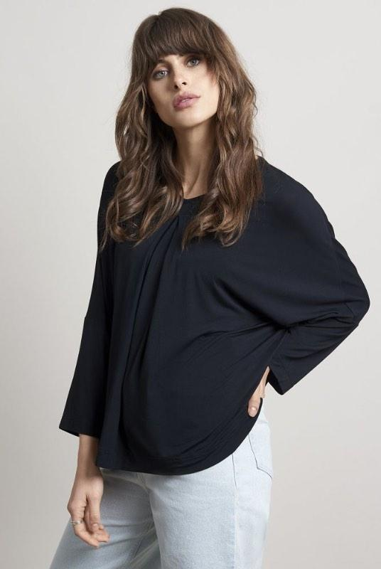 Ocean Black Bamboo Pleated Top-Komodo-MAMOQ