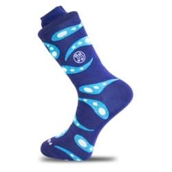 Ocean Paisley Blue Cotton Sock-Stand4 Socks-MAMOQ