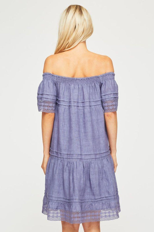 Off The Shoulder Dusty Blue Linen Dress-Aspiga-MAMOQ