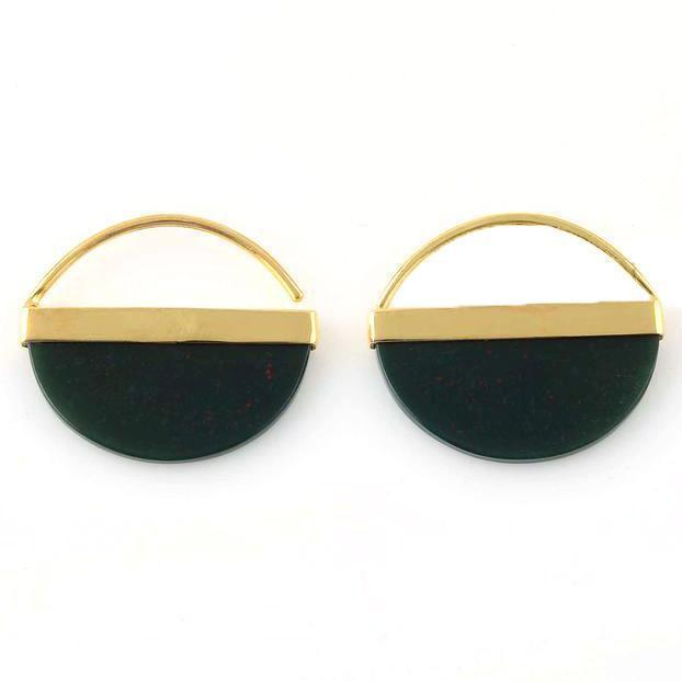 Olivia Bloodstone Sterling Silver and Gold Plated Earrings-jewellery-Harfi-MAMOQ