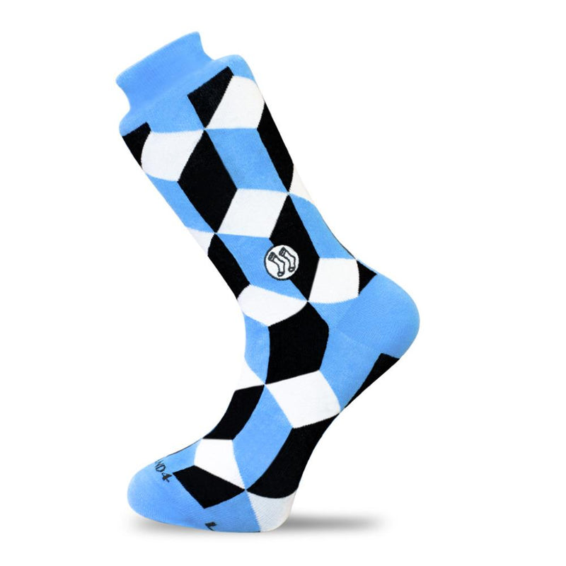 Optical Illusion Blue Cotton Socks-Stand4 Socks-MAMOQ