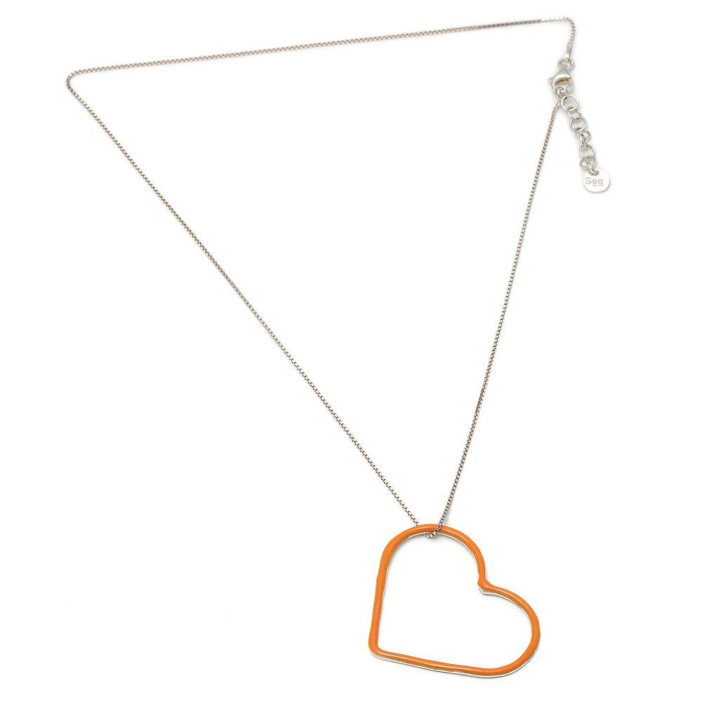 Orange IV Silver Short Chain Necklace-SeeMe-MAMOQ