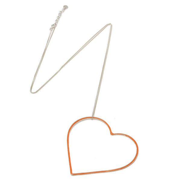Orange VIII Silver Long Chain Necklace-SeeMe-MAMOQ
