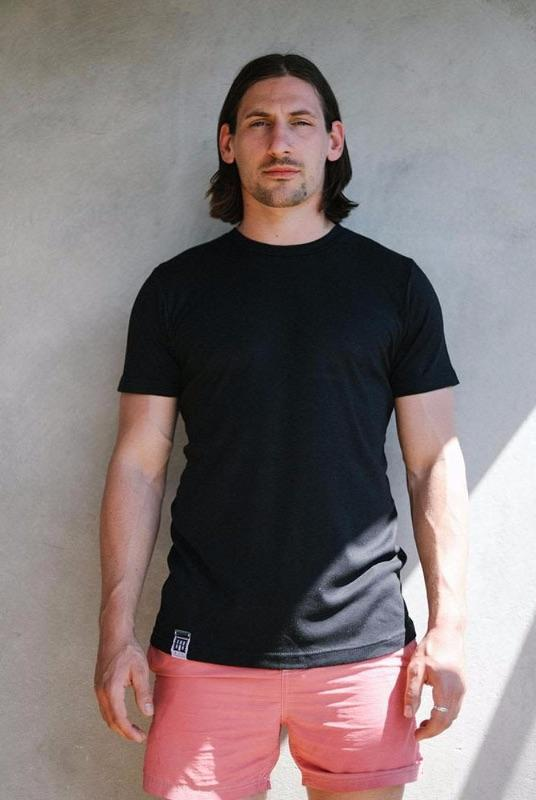 Organic Cotton and Bamboo T-Shirt Black-Lyme Terrace-MAMOQ