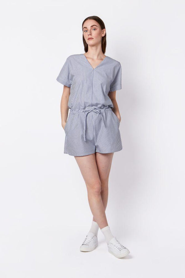 Organic Cotton Striped Short Jumpsuit-Elsien Gringhuis-MAMOQ