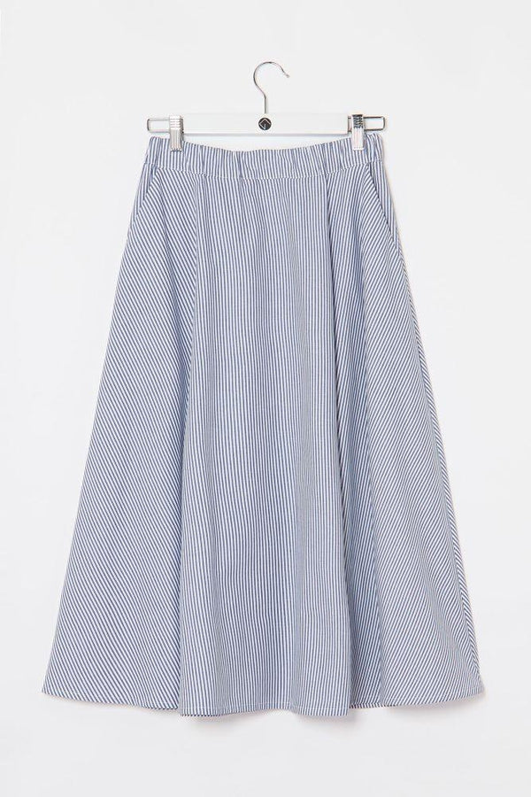 Organic Cotton Striped Wide Skirt-Elsien Gringhuis-MAMOQ