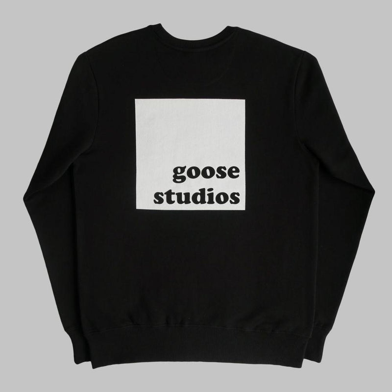 Organic Cotton Sweatshirt with White Printed Logos - Black-Goose Studios-MAMOQ