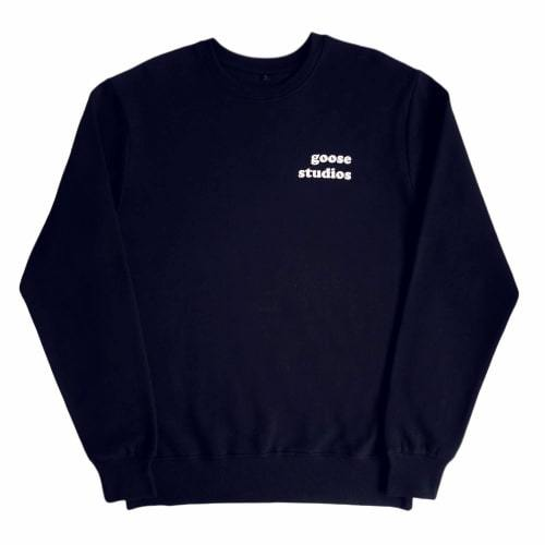 Organic Cotton Sweatshirt with White Printed Logos - Navy-Goose Studios-MAMOQ