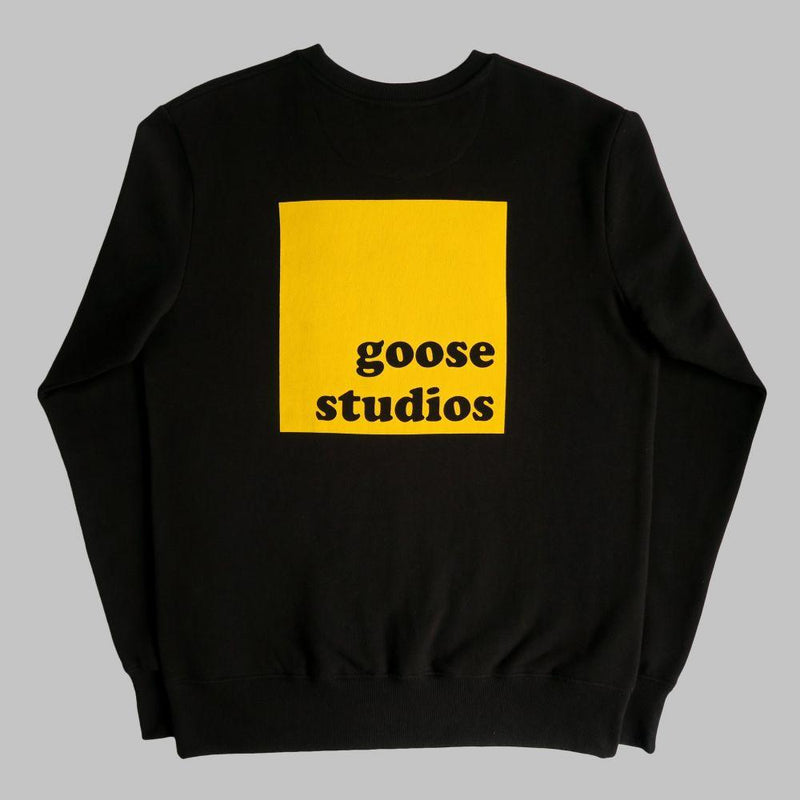 Organic Cotton Sweatshirt with Yellow Printed Logos - Black-Goose Studios-MAMOQ