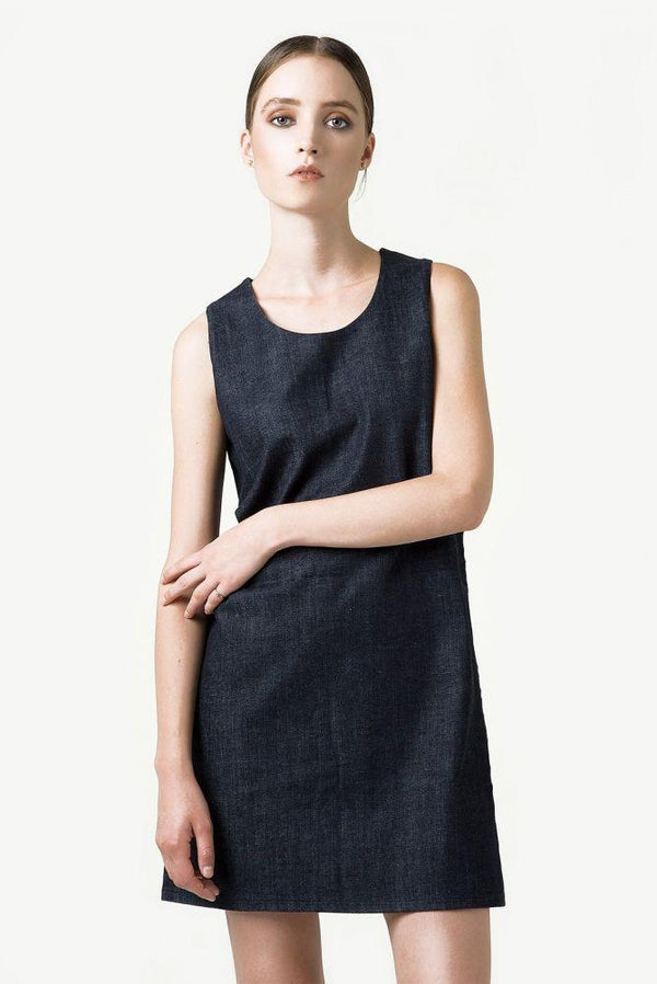 Organic Denim Eva Dress-Rakha-MAMOQ