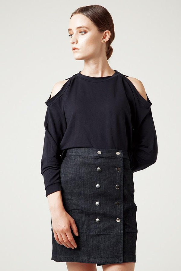 Organic Denim Eva Envelope Skirt-Rakha-MAMOQ