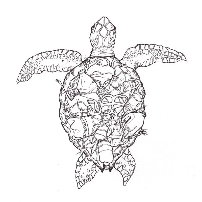 Organic Plastic Turtle T-Shirt Save The Ocean-Otter & Goat-MAMOQ