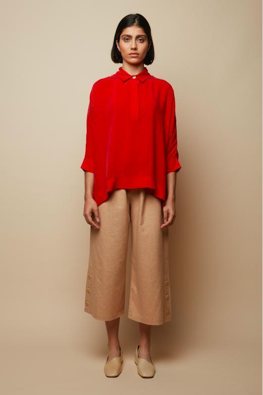 Oversized Red Lurid Shirt-Blouse-Rakha-MAMOQ