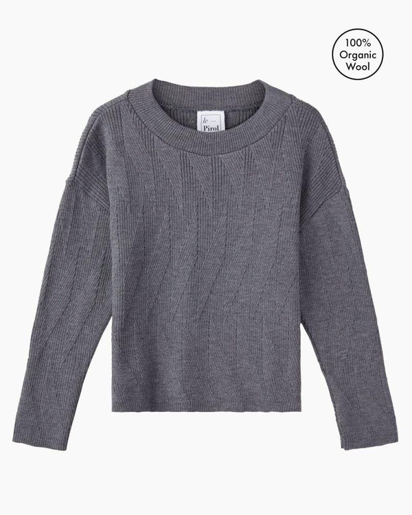 Painters Brush Grey Merino Wool Jumper-Le Pirol-MAMOQ