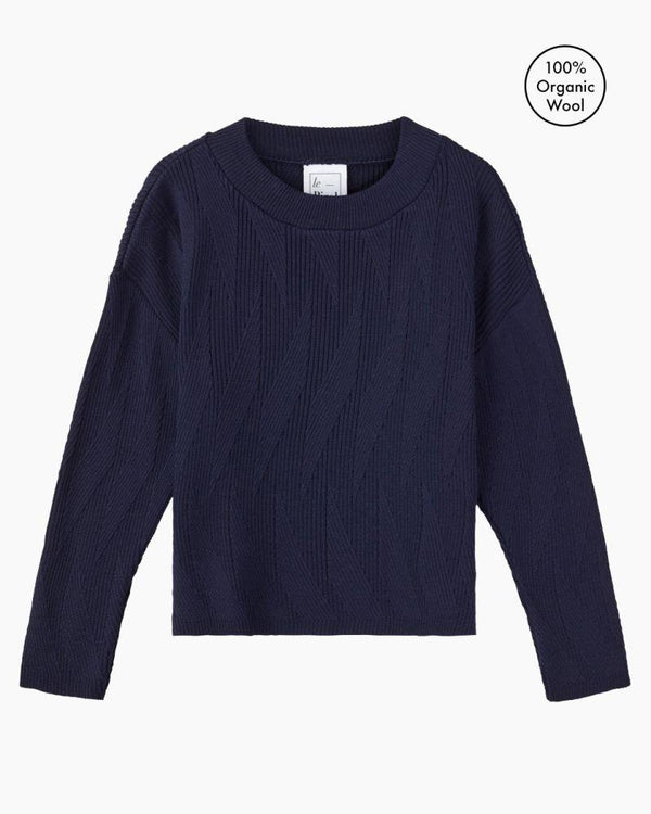 Painters Brush Navy Merino Wool Jumper-Le Pirol-MAMOQ