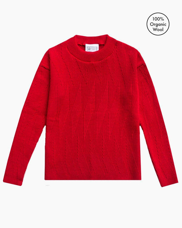 Painters Brush Red Wool Jumper-Cardigan-Le Pirol-MAMOQ