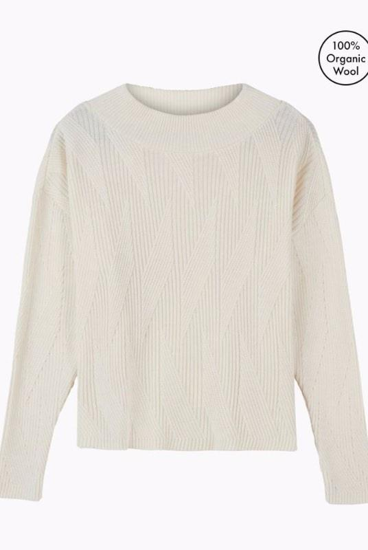 Painters Brush White Merino Wool Jumper-Le Pirol-MAMOQ