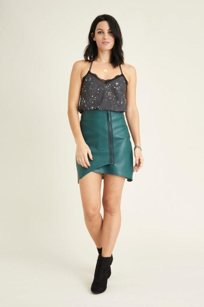 Panjin Green Faux Leather Wrap Mini Skirt-VILDNIS-MAMOQ