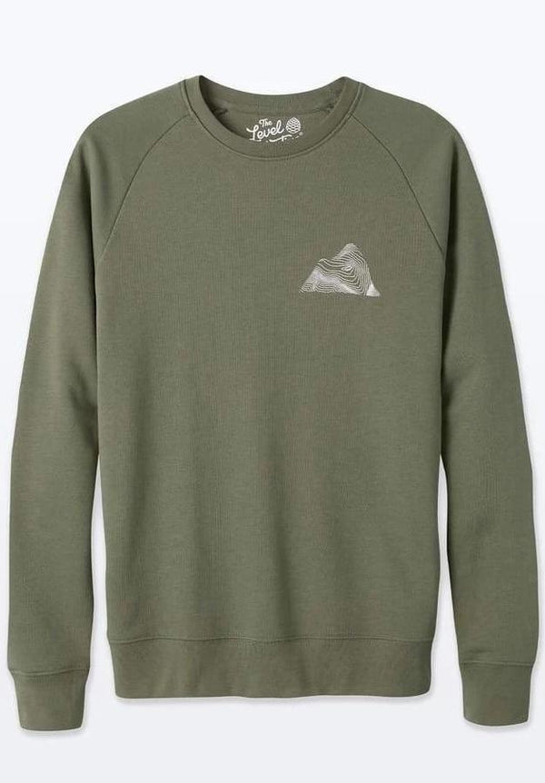 Peaks Unisex Khaki Green Organic Cotton Sweater-The Level Collective-MAMOQ