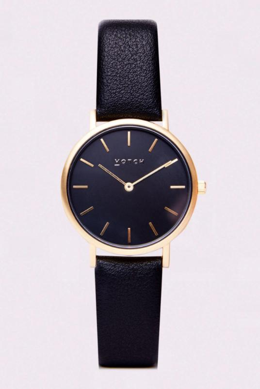 Petite Black & Gold Vegan Leather Watch-Watch-Votch-MAMOQ