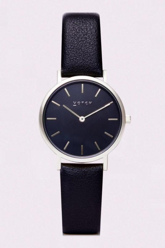 Petite Black & Silver Vegan Leather Watch-Watch-Votch-MAMOQ