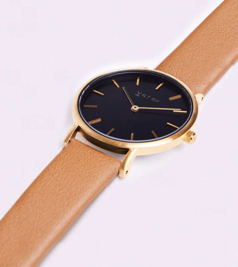 Petite Gold & Black with Tan Vegan Leather Watch-Watch-Votch-MAMOQ